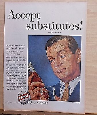 1959 magazine ad for Dr Pepper soda - Accept Substitutes! frosty, man, frosty!