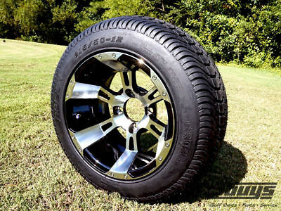 """Golf Cart 12"""" Colossus Wheels With 215/50-12 Cruze LoPro Tires (Set of 4)"""