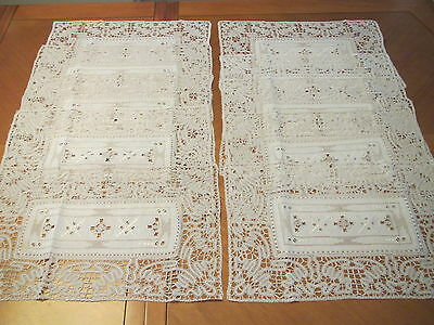 Antique Table Placemats 10 Italian Embroidered Linen Bobbin Lace Cutwork Mats
