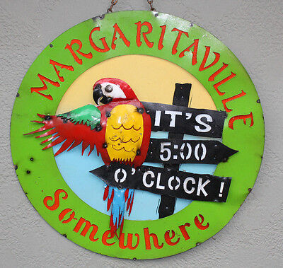 Metal MARGARITAVILLE TIN Sign GARDEN Home Ranch Decor Man Cave Beach Parrot Pool