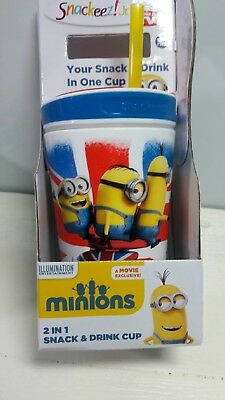 """Snackeez Jr. """"As Seen On TV"""" Minion Snack Cup & Drink Container W/ Straw & Lid"""