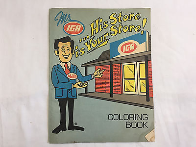 Vintage 1960s IGA GROCERY STORE premium COLORING BOOK  ADVERTISING crayons PROMO