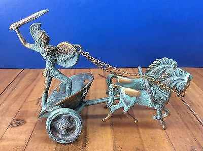 Small Ancient Greek Bronze Achilles Chariot Green Gold Oxidization