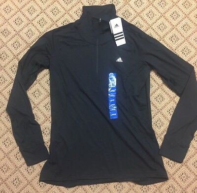 NWT Adidas Women's Long Sleeve Athletic Running Shirt Top Black Size Large