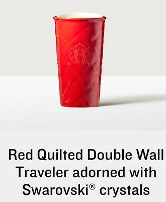 Starbucks Red Quilted Double Wall Tumbler w Swarovski Crystals Limited Edition