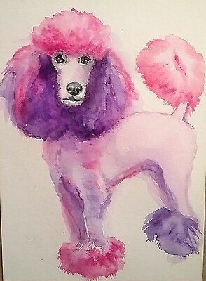 """Dog art,Original Watercolor painting on paper, pink poodle,puppy,pet,7x5.5"""""""