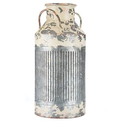 "18"" Rustic Metal Milk Can Chipped Paint Shabby-Chic Decor Country Cottage"