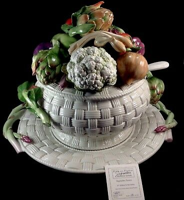 Fitz & Floyd Signature Collection Vegetables Soup Tureen Box Ladle Thanksgiving