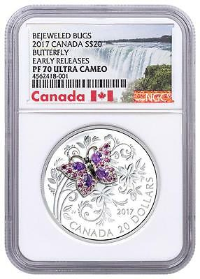 2017 Canada Silver $20 - Bejeweled Bugs - Butterfly - PF70 UC ER - NGC Coin RARE