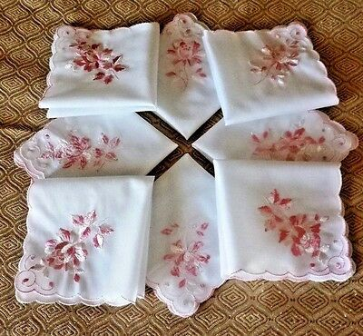 12 Women's Hanky Hankerchiefs Pink Roses on White Scalloped Embroidered 10 x 10