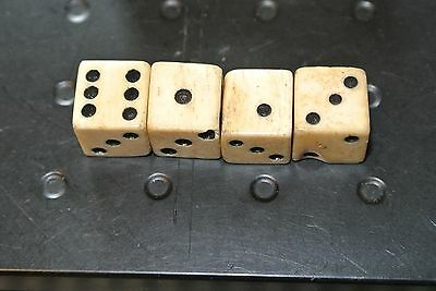 4 Antique Cow Bone Dice 1/2''