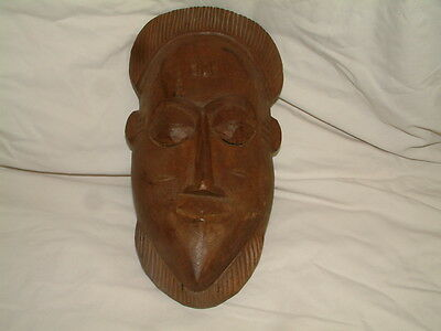 """African Hand Carved Wood Tribal Face Mask Wall Hanging  14"""" long"""