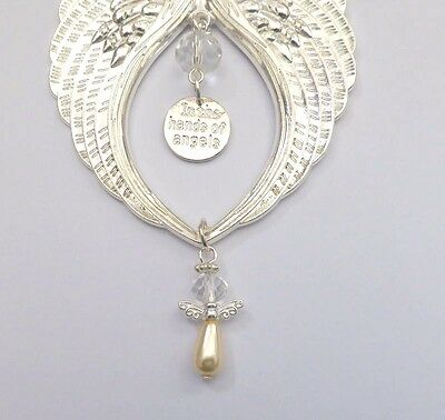 Guardian Angel Wings Bright Silver Memorial Remembrance Gift In the Hands Angels