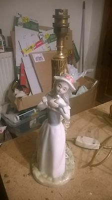 Nao by Lladro? Lamp Base With Lady & Tree Trunk Lamp 14.4 Inches Tall