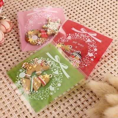 100Pcs 7x7cm Christmas Self Adhesive Cookie Candy Sweet Bags Party Gift Bags