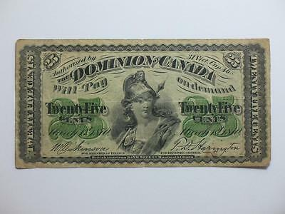 1870 Dominion Of Canada 25 Cents - Canadian Paper Currency - Shinplaster Note