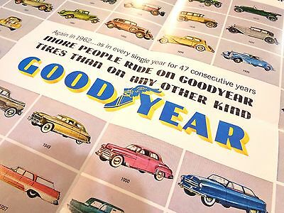 Original 1962 Goodyear Tires Poster 47 Years of Cars AUTOMOBILE COLLECTION cool!