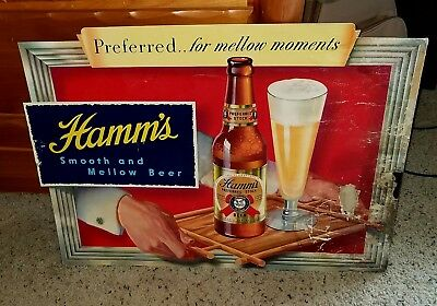 1940's NOS Hamm's Beer Cardboard Sign