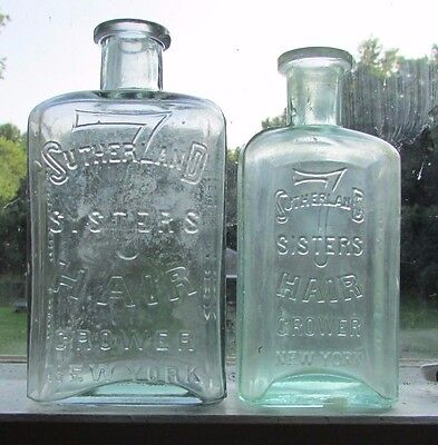 Lot Of 2 ~ Antique Sutherland 7 Sisters Hair Grower Bottles