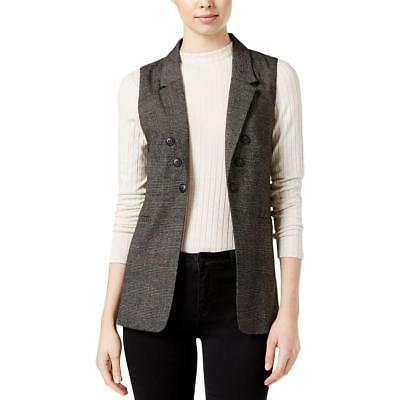 Kensie 8937 Womens Plaid Collar Open Front Casual Vest BHFO