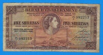 1952 Bermuda Government 5 Five Shillings Note P-18a