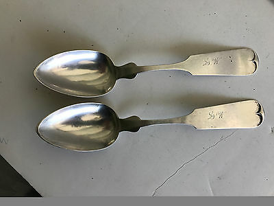 "Pair Southern Coin /Sterling Silver 8"" Table Spoons D.P.ARMER Richmond,Kentucky"
