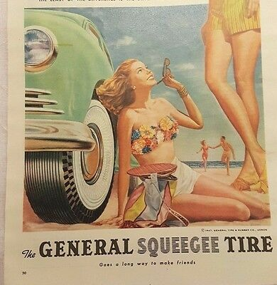 """1947 General Squeegee Tire Magazine Ad """"A long way to make friends"""""""
