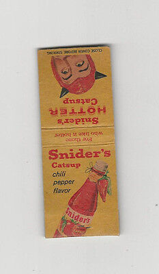 ADVERTISING MATCH BOOK - SNIDER'S CATSUP Ketchup RED DEVIL 1958 Food illus.