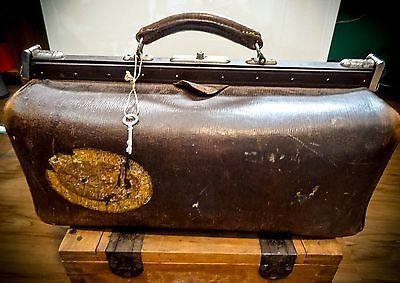 Vintage German Wwii Antique Leather Medical Doctor Surgeon Hand Bag Satchel