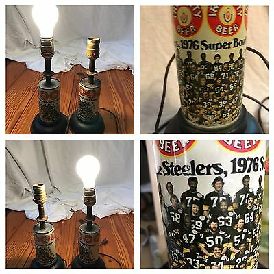 """2 Vintage 1976 Superbowl The Steelers Iron City Beer Can Lamps 12"""" Made in USA"""