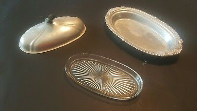 Antique butter plate silver with glass insert