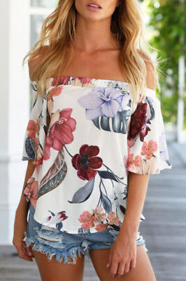 Womens Ladies Casual Loose Tops Long Sleeve T-Shirt Floral Off Shoulder Blouse
