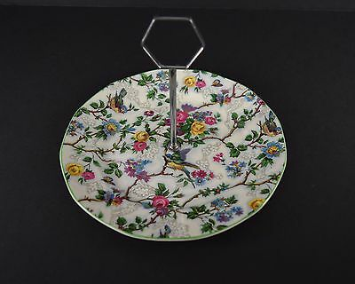 Barker Brothers Lorna Doone Chintz Single-Tier serving tray Green trim Birds 9""