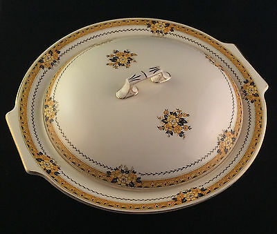 Myott Staffordshire The Savoy Covered Serving Bowl Black Yellow Ivory Deco
