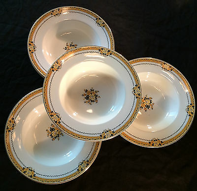Myott Staffordshire The Savoy Soup Bowl Black Yellow Gold Ivory Deco England
