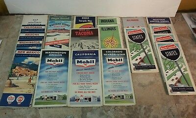 Lot of 20 Vintage Road Maps AAA Gulf Mobil Standard Oil Chevron CA OH IN WA IL
