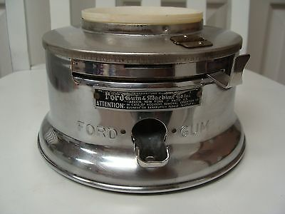 Vintage Ford 1 Cent Penny Gumball Machine Base~Stainless~Dispenses Chiclets Gum