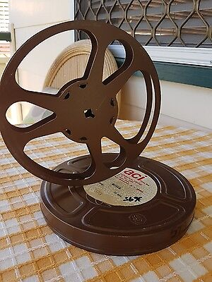 VINTAGE metal Film reel canister and spool 18.5cm ACI Films American