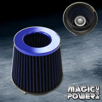 """4""""Universal Blue Inlet Short Ram Cold Intake Round Cone Air Filter Blue KN Type"""