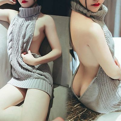 Virgin Killer Sexy Women Turtleneck Pullover Sweater Anime Cosplay Backless NEW