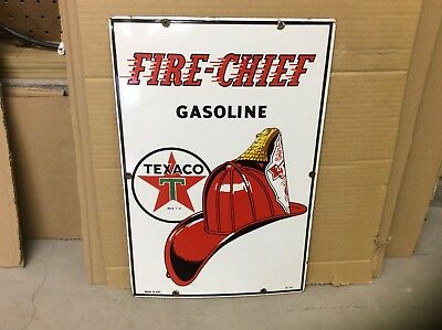 1951 Original Fire Chief TEXACO Gas Pump PORCELAIN SIGN 18X12