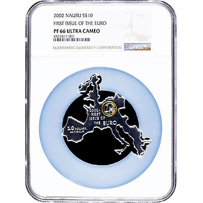 2002 Nauru Silver $10 - First Issue of the Euro Gilt PF66 UC - NGC Coin - POP=1