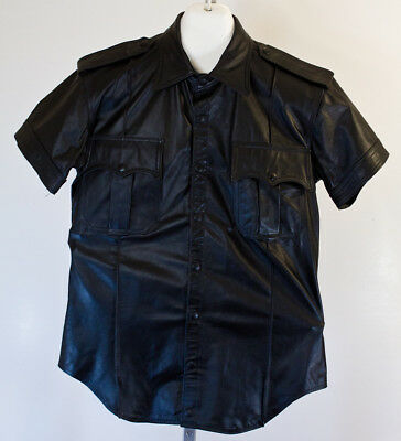 Vintage 80s/90s RUBIO LEATHER Shirt Black Sexy Button Up Size M