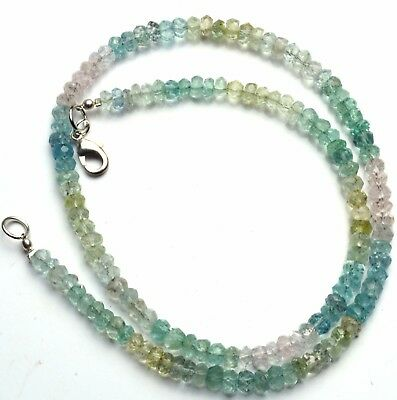 """Natural Gem Faceted Multicolor Aquamarine 5MM Rondelle Beads Necklace 17"""" 93Cts."""