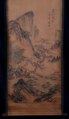 Vintage Antique Old Chinese Scroll Hand Painting Landscape Marked Tang Yin KK595