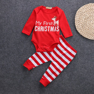 2Pcs Reindeer Baby Girl Boy ''MY First Christmas'' Romper Stripe Pants Outfit