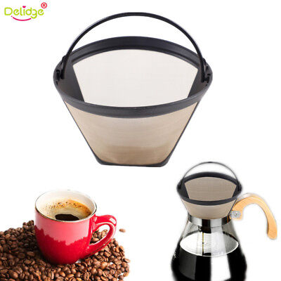 NEW Reusable Coffee Filter Gold Tone Permanent #4 Cone Shape Coffee Filter Mesh