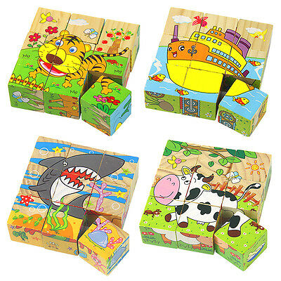 Kids Cartoon 6 Sides Puzzle Blocks Colorful Educational Wooden Children Toy