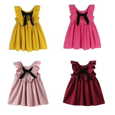 AU Infant Baby Kids Girl Summer Cotton Bowknot Princess Wedding Party Tutu Dress