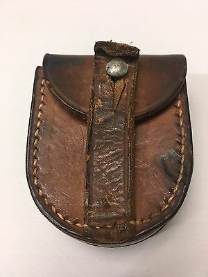 Vintage Hide Leather Hand Made Compass Case With Belt Loop Stitched Pouch